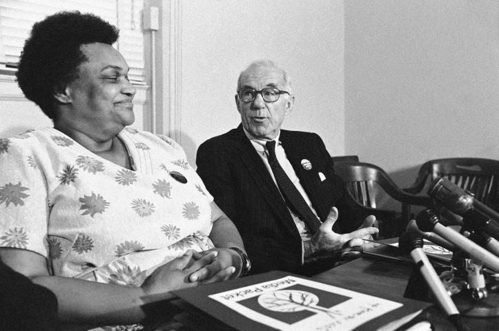 Margaret Wright with Dr. Benjamin Spock, her vice-presidential running mate on the People's Party ticket, in 1976. (AP)