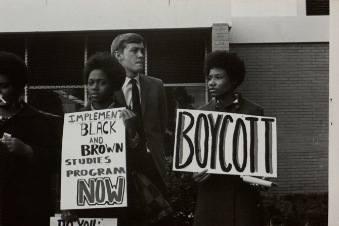 "Student protests at San Fernando Valley State College called for the establishment of ""Black and Brown Studies"" programs, 1969. (CSUN University Archives)"