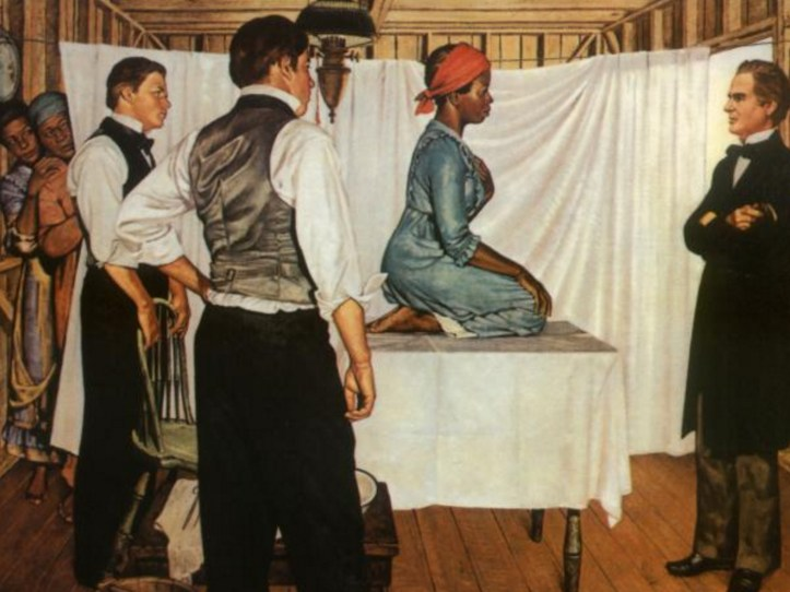 Painting of Anarcha Wescott and J. Marion Sims. (Southern Illinois University School of Medicine, Pearson Museum)