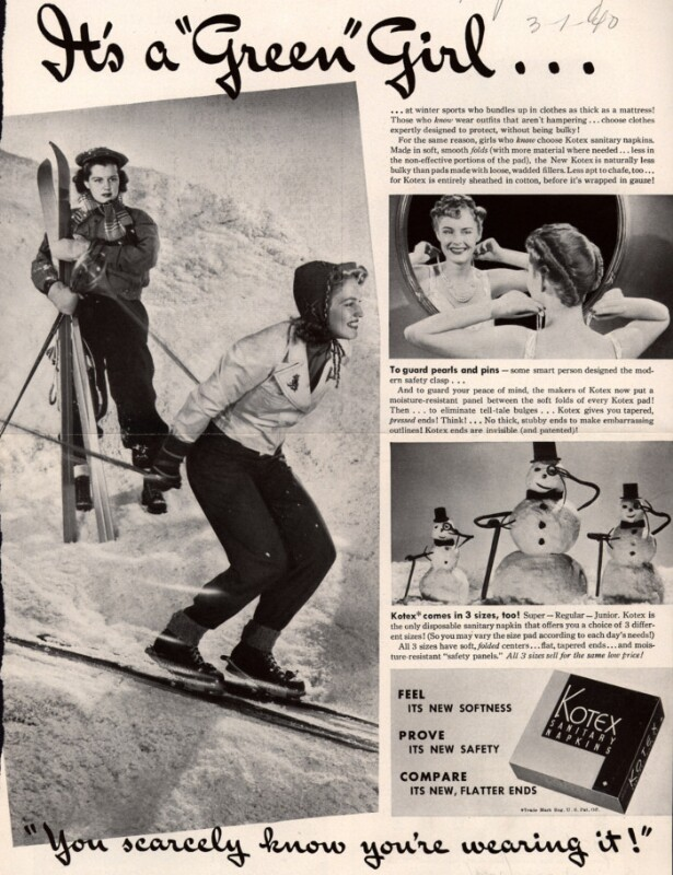 """Another Kotex ad from 1940 showing a skiing woman with the tagline, """"you scarcely know you're wearing it!"""" (Harper's Bazaar/Ad*Access, Duke University Libraries)"""