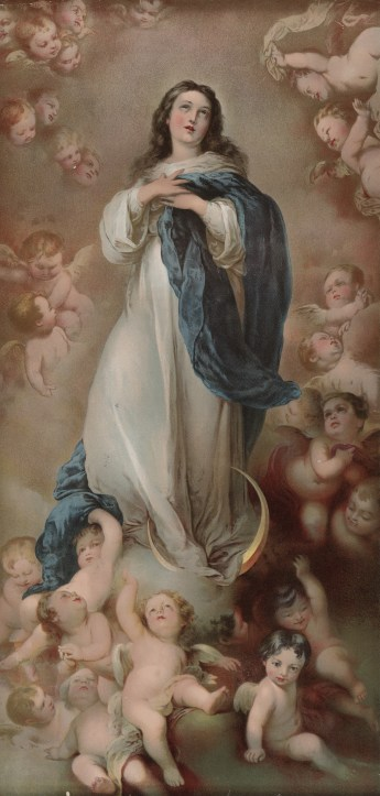 "Art reproduction of The Immaculate Conception, showing Mary amid clouds and cherubs; CAPTION: ""The Immaculate Conception,"" a lithograph created around 1896. (American Lithographic Co./US Library of Congress)"
