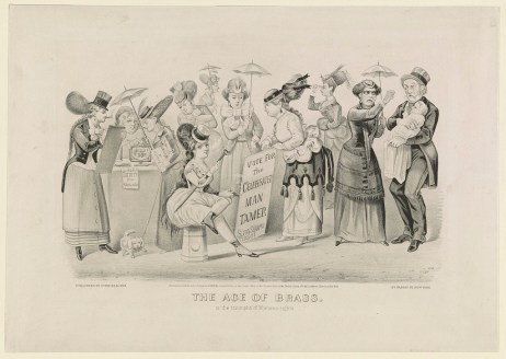 """""""The age of brass. Or the triumphs of woman's rights,"""" 1869, lithograph. (Currier and Ives/US Library of Congress 