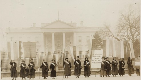 """""""Penn[sylvania] on the picket line--1917,"""" 1917, photograph, Records of the National Woman's Party. (Harris & Ewing/US Library of Congress)"""