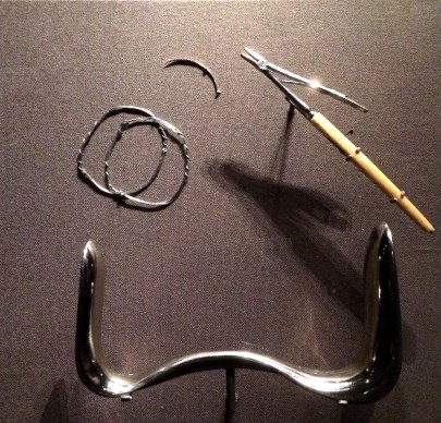 A part of the NMAAHC display of J. Marion Sims's gynecological tools. (Laura Ansley/Nursing Clio | CC BY-NC-SA)
