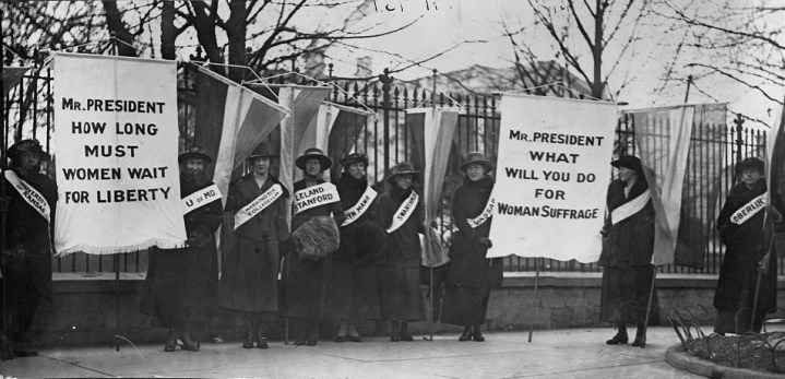 """The first picket line -- College day in the picket line,"" 1917, photograph. (National Woman's Party Records/US Library of Congress)"