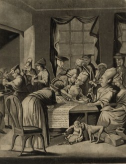 Print shows satire of American women from Edenton, North Carolina, pledging to boycott English tea in response to Continental Congress resolution in 1774 to boycott English goods. A small room is full of women and in general disarray, with one woman featured prominently flirting with a man and a neglected child on the floor with a dog.