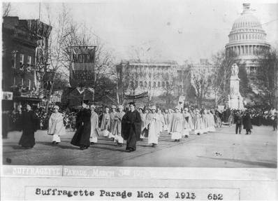 "American nurses marching in the ""Suffragette parade Mar. 3, 1913,"" 1913. (George Grantham Bain Collection/US Library of Congress 
