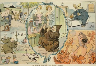 """A 1906 political cartoon in Puck titled """"St. Anthony Comstock, the Village nuisance."""" (L. M. Glackens/US Library of Congress)"""