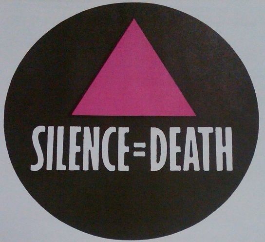 """ACT UP chapters soon appeared across the globe. This button shows the """"Silence = Death"""" motto in English. (GLBT Historical Society Archives, Box: Buttons-Slogans)"""