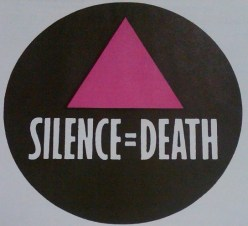 "ACT UP chapters soon appeared across the globe. This button shows the ""Silence = Death"" motto in English. (GLBT Historical Society Archives, Box: Buttons-Slogans)"