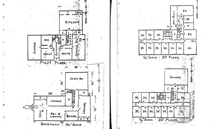 Building floor plan; first floor common spaces, second floor is bedrooms.