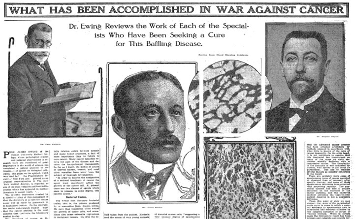 "A 1912 New York Times article titled, ""What Has Been Accomplished In War Against Cancer."""