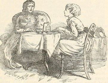 Sketch of two women sitting at a table. One woman leans forward in her chair.
