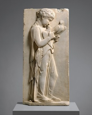 Marble carving of a young girl in a robe, holding a bird in one hand and gazing at it, head cocked down with her chin in her chest.