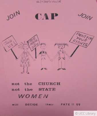 Pink poster with black pen illustrations of three people holding protest signs reading: Join Us; Free, Legal, and Save; and Fight for Your Rights. The poster is titled CAP, not the church, not the state, women