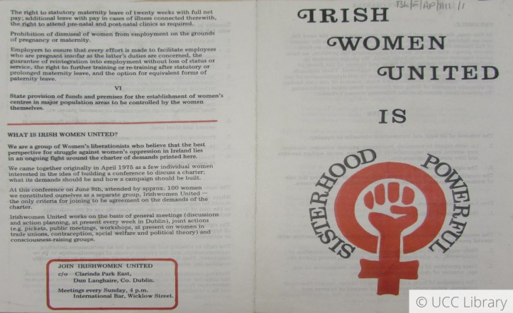 Copy of a pamphlet titled Irish Women United is Sisterhood Powerful