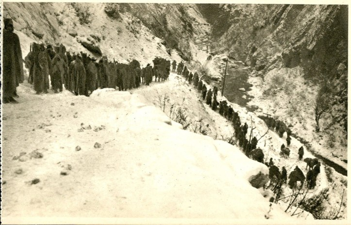 Harsh conditions for World War One refugees. This photo shows the Serbian army and civilians retreating through the harsh winter mountains of Montenegro during the winter of 1915-1916.