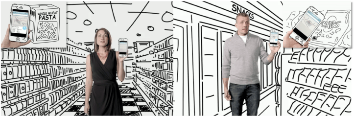 Screenshots from two Weight Watchers videos, one showing a woman in a grocery store holding a smartphone with an illustration of whole wheat pasta and the other a man in a convenience store with chips