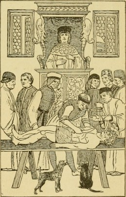 Ink drawing of an early modern surgery, with a victim (dead? alive? unclear) on a table, cut open, a man's hand inside his chest, with seven other men standing around. A man sits on a seat raised above, over seeing the surgery.