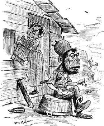 Drawing of an ape-like man sitting on a bucket in front of a shack or shanty, with an ape-like woman peering out of the doorway.