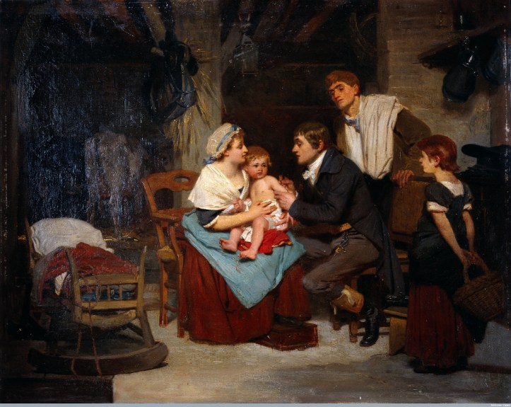 Oil painting showing Jenner kneeling and administering a vaccine to a child in its mothers arms with a standing man and child watching