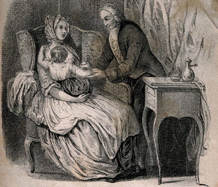 Lithography of Jenner vaccinating a child in its mother's arms while she looks at him, in a domestic setting