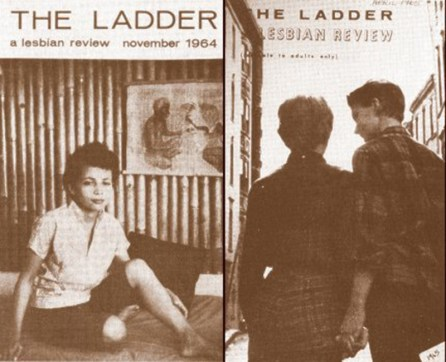 "A sepia tone image of two magazine covers titled ""The Ladder"" showing a woman sitting and two figures walking hand in hand away from the camera"