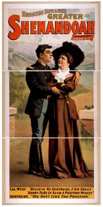 Lithographed movie poster of a Union soldier and woman embrace in an idyllic field scene.