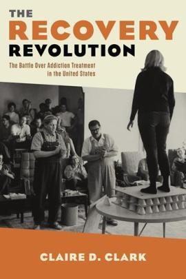 Book jacket cover of Recovery Revolution. A woman stands on a table, with onlookers clapping.
