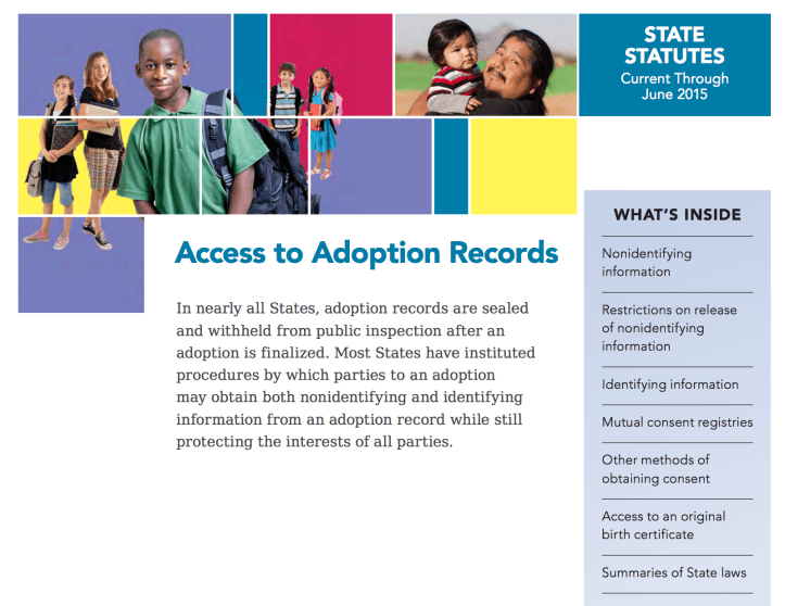 """PDF cover says """"In nearly all States, adoption records are sealed and withheld from public inspection after an adoption is finalized. Most States have instituted procedures by which parties to an adoption may obtain both nonidentifying and identifying information from an adoption record while still protecting the interests of all parties."""""""