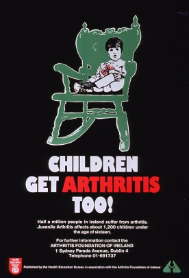 Predominantly black poster with white and red lettering. Visual image is an illustration of a child sitting in a rocking chair.