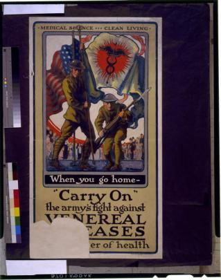 Anti-VD poster, Two American soldiers, one carrying a flag with caduceus on it, and the other carrying bayoneted rifle.