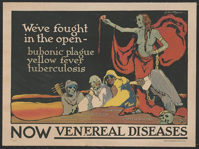 Poster shows emaciated human figures, representing various diseases, cower beneath a partially nude female figure, representing venereal disease, chained to a vulture.