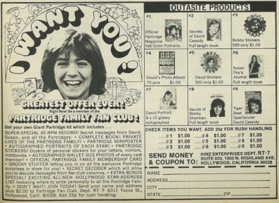 Ad in a teen magazine to join the David Cassidy fan club. Features a disembodied cut out of Cassidy's head.