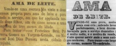 Old newspaper ads for wet nurses in Portuguese.
