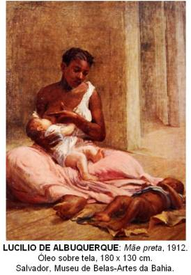 Painting of an enslaved black woman breastfeeding a white infant while a black infant is on the floor at her feet.