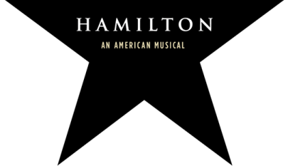"Half of a black star with ""Hamilton: An American Musical"" written on it."