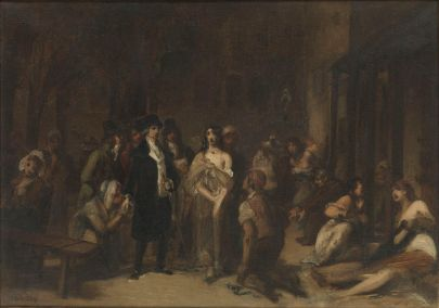 Painting of a crowd of people surrounding a beleaguered looking woman in a torn nightgown; a belt (for chaining her up) is behind removed from around her waist.