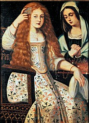 A white woman with long orange hair sites in a chair, attended by a serving woman.