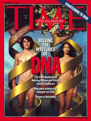 Time magazine cover showing a nude man and woman standing side by side with golden ribbons representing DNA wrapping around them, turning into trees at the top of the image. The headline text is Solvign the Mysteries of DNA.