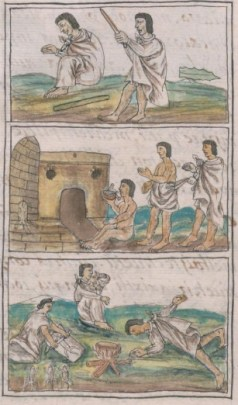 Three-panel illustration of people in white robes in positions of preparing and using medicines.