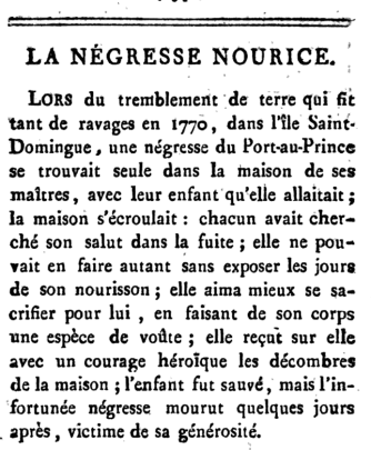A brief short story in French, copied from a document published in 1800.