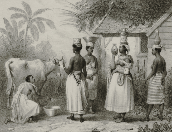 An 1839 engraving of five women, four of them standing women holding pitchers with bowls and pitchers on their heads, and one kneeling next to a cow. They are wearing skirts.
