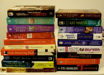 A stack of romance novels, including Gaelen Foley novels, and The Lost Duke of Wyndham by Julia Quinn.