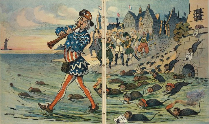 "Illustration shows Uncle Sam as the ""Pied Piper"" playing a pipe labeled ""Lax Immigration Laws"" and leading a horde of rats labeled ""Jail Bird, Murderer, Thief, Criminal, Crook, Kidnapper, Incendiary, Assassin, Convict, Bandit, Fire Brand, White Slaver, [and] Degenerate"", and some carry signs that read ""Black Hand"" showing a black handprint. In the background, rulers from ""France, Russia, Germany, Italy, Hungary/Austria, Turkey, [and] Greece"", along with citizens of these countries, are cheering the fleeing rats."