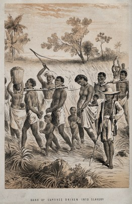 Group of African men, women and children captured and in shackles, are herded by men with whips and guns in order to become slaves.