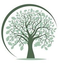 Logo of . tree with lots of branches and leaves surrounded by a half circle.