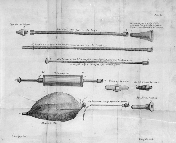 Illustration in black and white of several thin tubes with nozzles at one end and on the other some have balloons and others fluted openings.