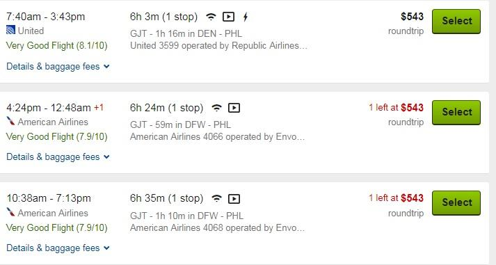 Screenshot of a website listing flight options from United and American Airlines, for flights from Denver to Philadelphia. All three shown cost $543.