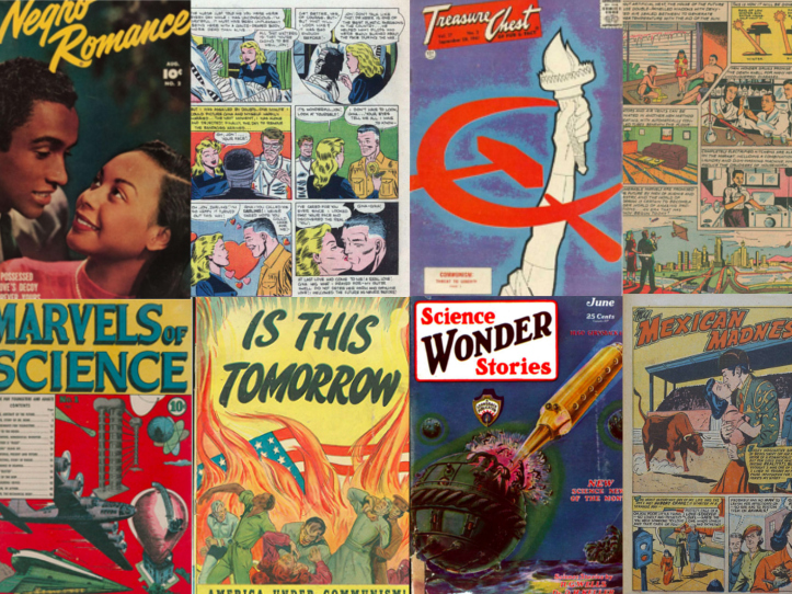 Eight comic book covers and pages depicting anti-communism and romance from the mid-20th century.